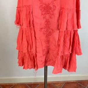 Free People Tops - Free People Peach Embroidered Tunic